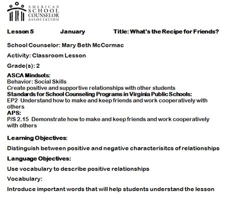 guidance lesson plan template elementary counseling using asca mindsets in lesson