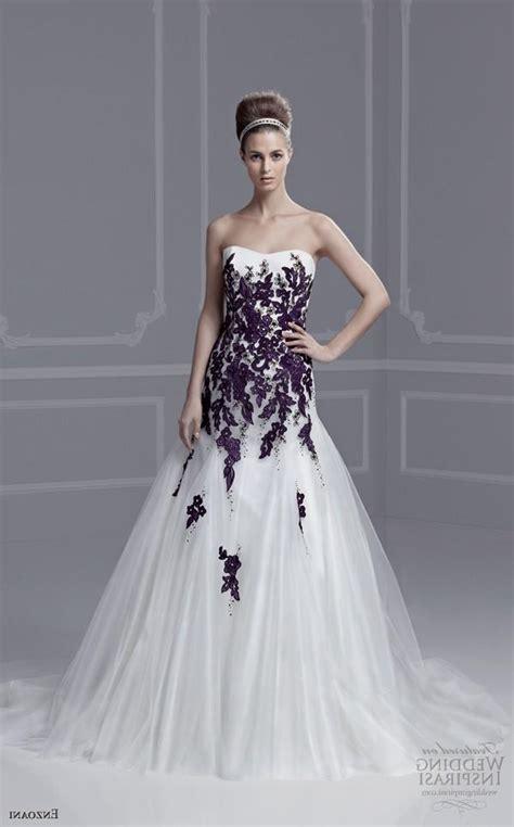 Custom Wedding Dresses Purple And White by White And Purple Wedding Dress With Green Embroidery