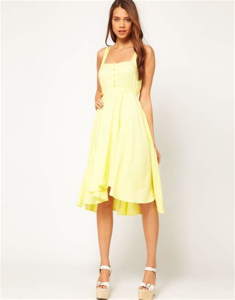 Connection Yellow Summer Dress by Asos Midi Summer Dress With Bow Back In Yellow Lyst