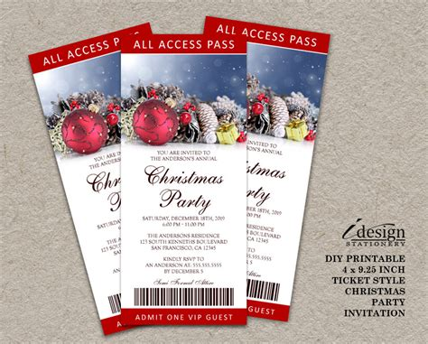 christmas party ticket template printable ticket invitations ticket style