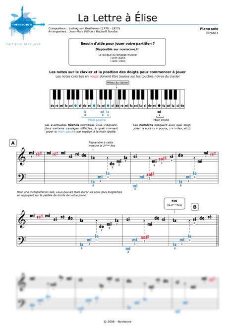 beethoven lettere partition piano la lettre a elise pour debutant