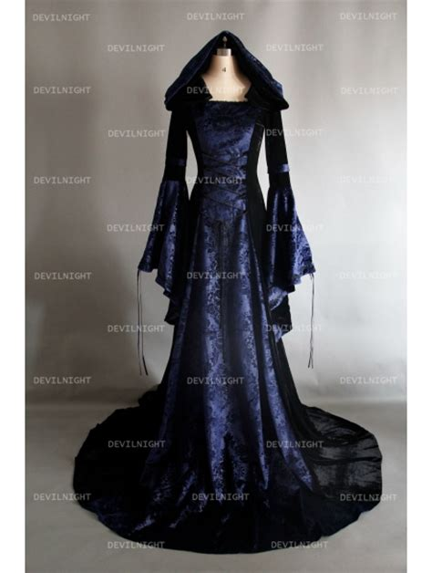 navy blue  black velvet gothic hooded medieval dress