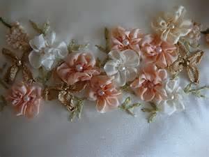 ribbon flowers silk ribbon embroidery five petal flower gathered ribbon flower