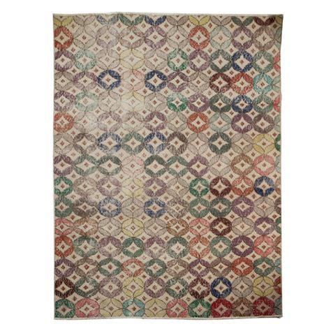 scandinavian knotted rug knotted circular pattern turkish scandinavian style rug at 1stdibs