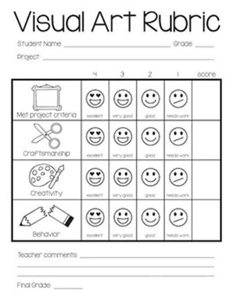 printable art rubric 6 best images of printable elementary art rubric
