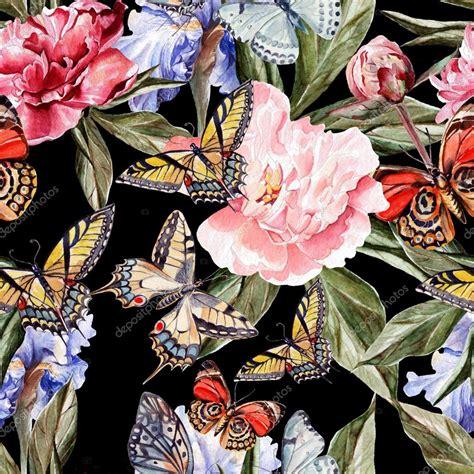 immagini farfalle e fiori modello dell acquerello con bellissime farfalle e fiori