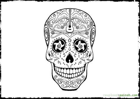 day of the dead skull coloring pages bestofcoloring com