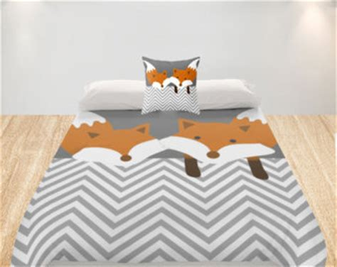 fox bedding fox duvet cover etsy
