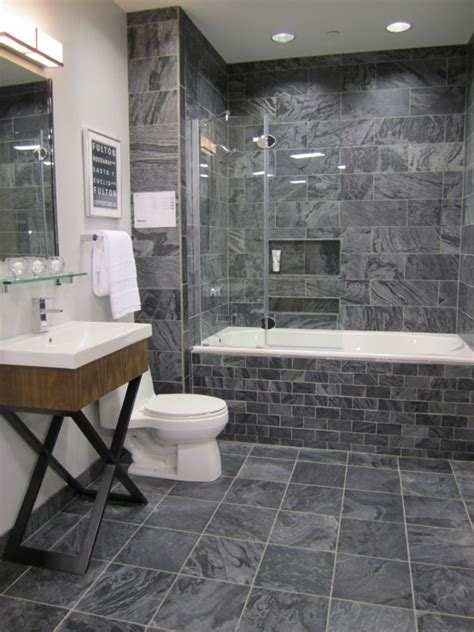 bathroom with gray tile charcoal slate tile modern bathroom bellfia