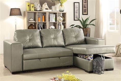 Silver Faux Leather Convertible Sectional Sofa Bed Silver Sectional Sofa