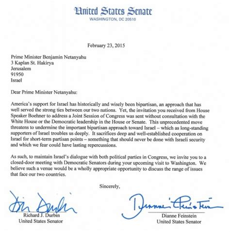Invitation Letter Partners Meeting Dem Senators Feinstein And Durbin Send Israel S Netanyahu A Invite Threat Netanyahu