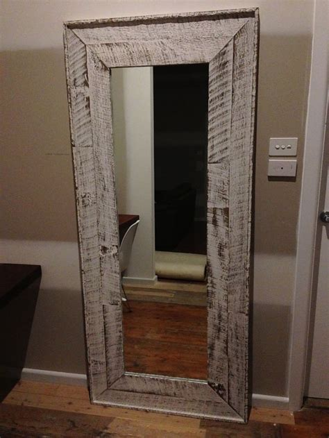 mirror frame     fence palings  finished  whitewash diy pinterest