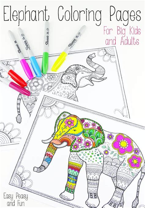 coloring books for adults on free elephant coloring pages for adults easy peasy and