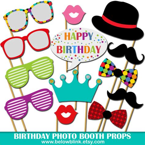 printable photo booth party props birthday photo props printable photo booth props happy