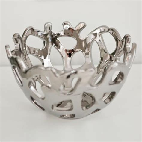 coral bowl silver contemporary decorative accents by