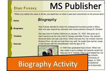 biography project for middle school students technobiography microsoft publisher lesson plans teach