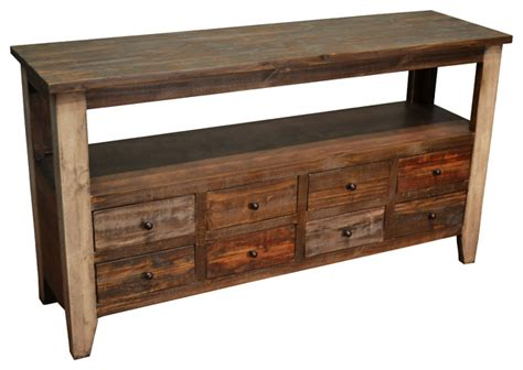 Rustic Sofa Table With 8 Drawers Farmhouse Console Rustic Sofa Table