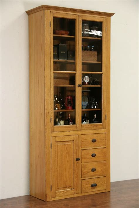Pantry Cabinet With Glass Doors by Sold Oak 1900 Pantry Cupboard Or Country China Cabinet