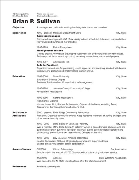 chronological resume sle format 7 chronological resume exle resume reference