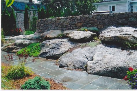 granite stone walls and rock garden traditional