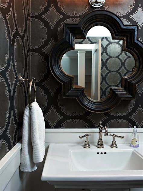 black and silver bathroom wallpaper black quatrefoil mirror contemporary bathroom hgtv