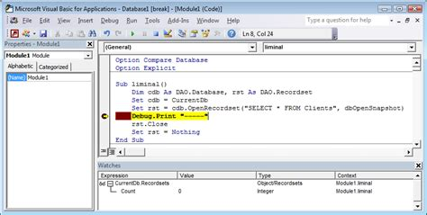 check if is open ms access vba debugging see all open dao recordsets