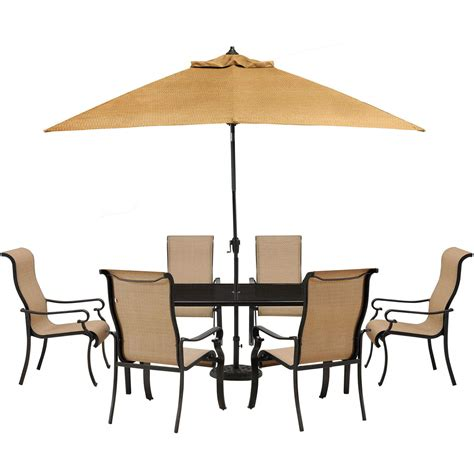 outdoor dining table with umbrella brigantine 7 glass top dining set with 9 ft table