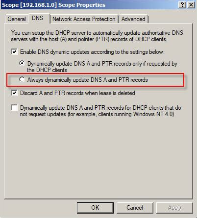 Ip Address Dns Lookup How Do I Configure Dhcp For Dynamic Updates In Windows
