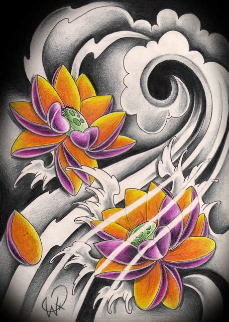lotus tattoo flash japanese lotus color by willemxsm on deviantart