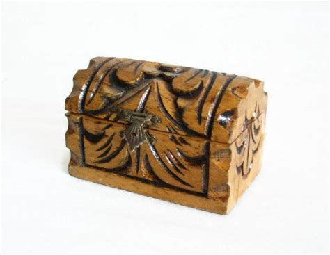 Handmade Wooden Chest - pirate treasure chest mini handmade wooden carving