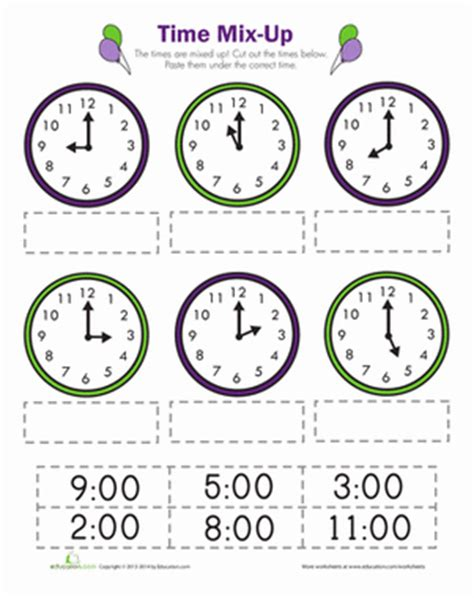 clock worksheets cut and paste time mix up worksheets