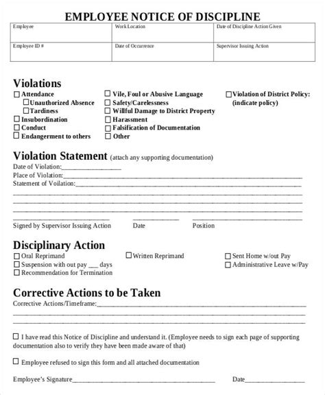 employee discipline form template free employee write up form buyretina us