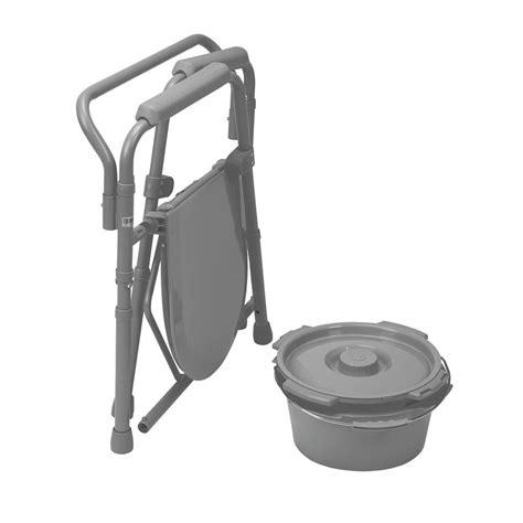 Senior Potty Chair - folding steel bedside commode toilet seat chair senior