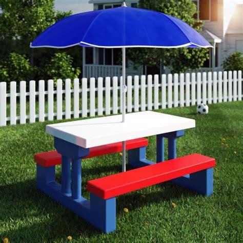 ensemble jardin enfant table bancs parasol achat