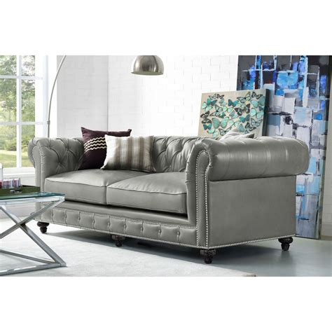 Gray Chesterfield Sofa by Rustic Grey Leather Sofa With Chesterfield Design Ebay