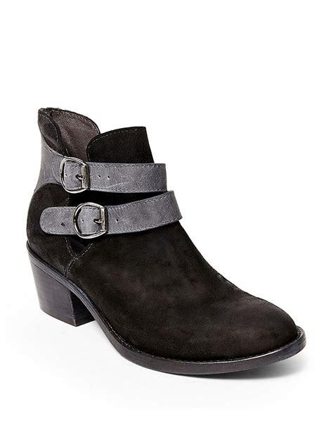 steve madden raskal suede ankle boots in black lyst
