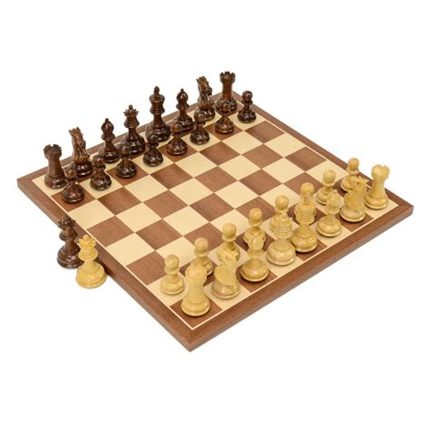wooden chess set chamfered compact wood chess set
