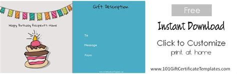 gift card birthday template free birthday gift certificate template