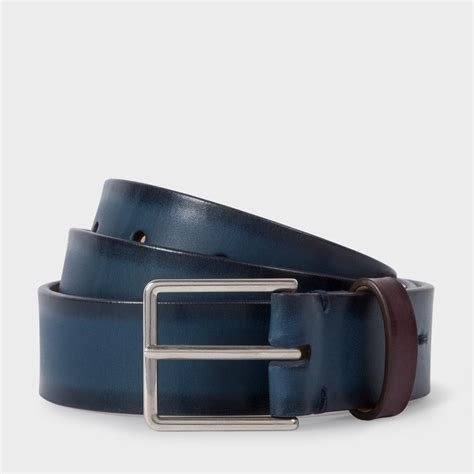 paul smith s navy burnished leather belt in blue for