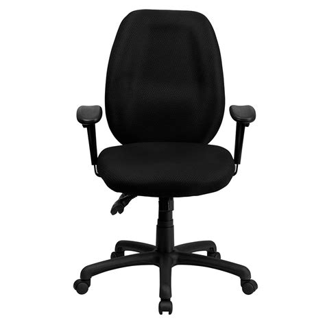 desk chair with adjustable arms ergonomic home high back black fabric multi functional