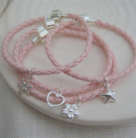 leather friendship bracelet with silver charm by evy