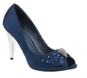 Navy blue satin wedding prom bridesmaid party peep toe shoes