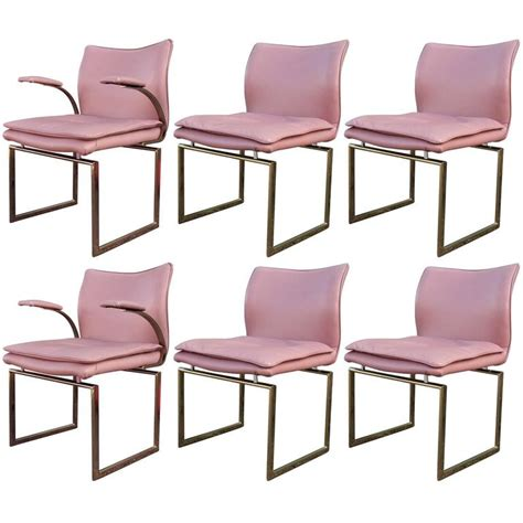 Pink Dining Room Chairs Modern Set Of Six Brass And Pink Leather Dining Chairs At 1stdibs