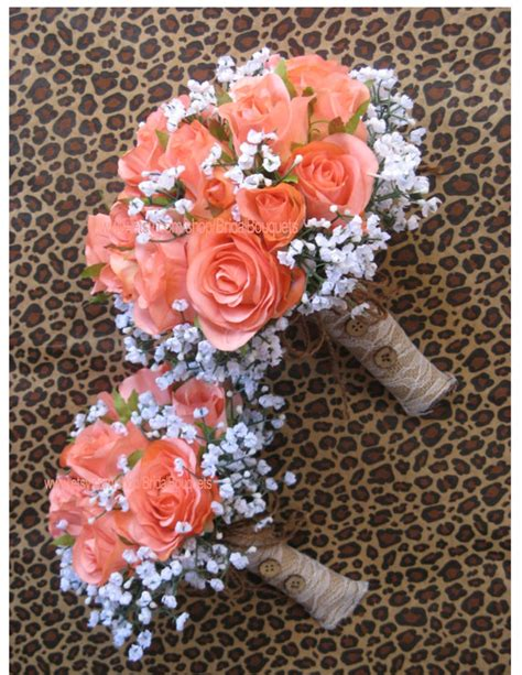 coral and chagne wedding new artificial rustic coral reef bridal bouquet silk coral