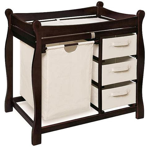 Overstock Changing Table Sleigh Style Espresso Changing Table With Her And Baskets 12985838 Overstock Shopping