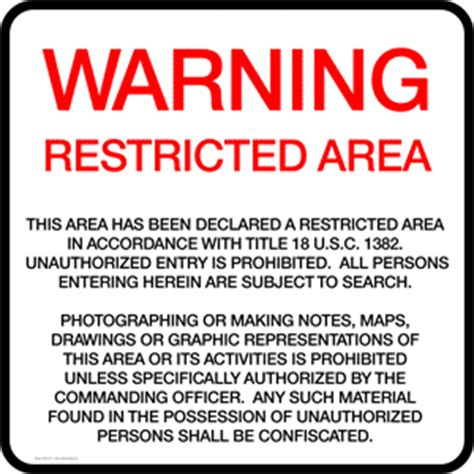title 18 section 1382 warning restricted area title 18 u s c 1383 sign nhe 16117