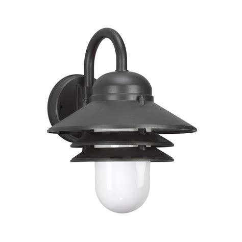 Polycarbonate Outdoor Lighting Sea Gull Lighting Polycarbonate Outdoor 1 Light Black Outdoor Wall Mount Lantern 83055en 12