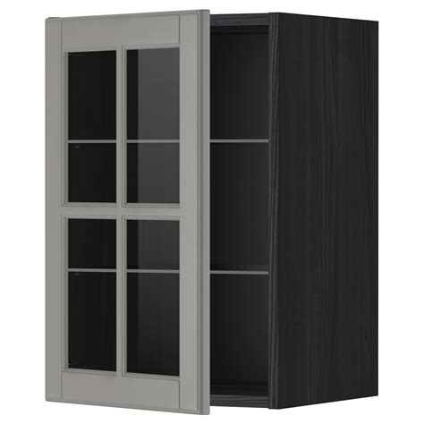 glass shelves kitchen cabinets metod wall cabinet w shelves glass door black bodbyn grey