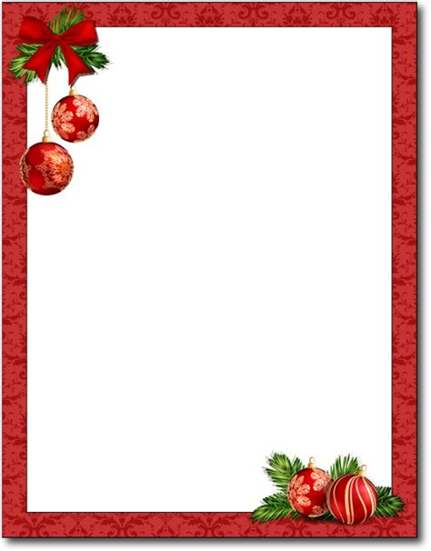 images of christmas letterhead red christmas bulbs stationery 80 sheets