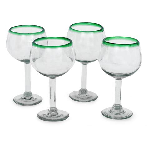 hand blown wine glasses lime globe hand blown green rim wine glasses set of 4